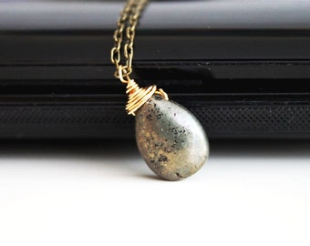 Natural pyrite antique bronze necklace, gold fill necklace, brass simple everyday jewelry