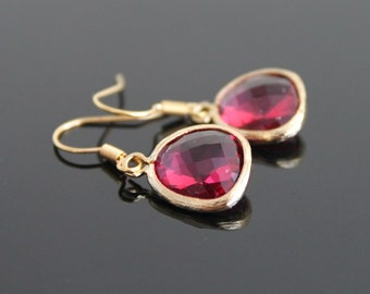 Magenta hot pink glass earrings, fuchsia crystal gold earrings, small earrings, simple everyday jewelry