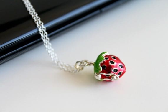 Strawberry shaped box necklace, locket silver necklace, simple everyday jewelry