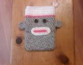Crocheted Nook (E-reader) Cover - Sock Monkey