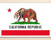California Flag Poster - With half skeletonized bear  - 11.5 x 17.5 inches