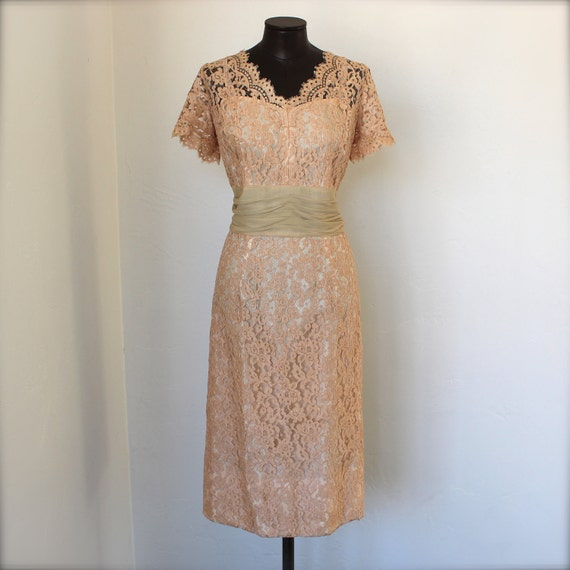 50's Blush Chantilly Lace Dress w / Chiffon Cummerbund