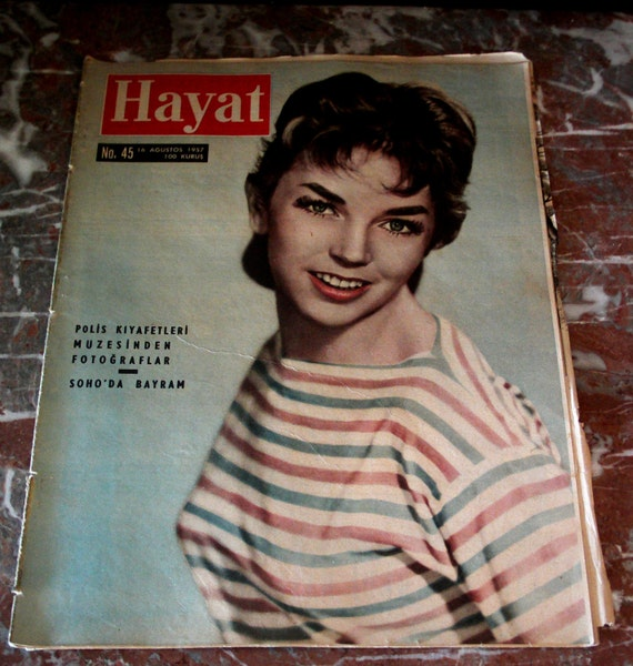 Vintage MAGAZINE 1957 Turkish POPULAR CULTURE Dawn Adams celebrity cover illustrated color photos. For art collage, assemblages, props