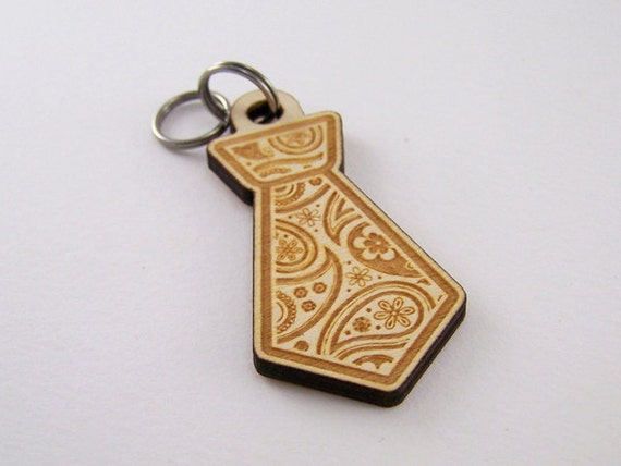 Dog Collar Tags - Pet ID Tag Wood Paisley Tie
