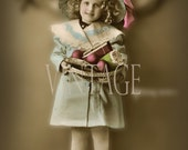 """Digital Download Pretty """"Karen"""" with her doll, vintage french photo postcard photograph  300dpi  Print5P"""