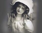 "Digital Download Pretty ""Lisette"" Large size vintage french sepia photo postcard photograph  300dpi  Print6P"