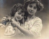 """Digital Download image """"Mother,Daughter """" scan vintage french sepia photo postcard photograph  300 dpi  Print 61P"""
