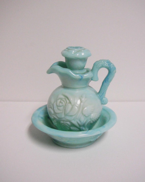 Vintage Collectible Blue Green Avon Bottle Bud Vase