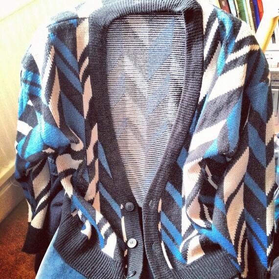 Vintage Patterned Black Blue Grey Cardigan