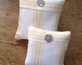 Pair of Striped Pin cushions Pinholders 2 sizes with mother of pearl button trim - how cute