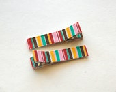 Vertical Stripes Ribbon Lined Hair Clippie, Set of 2 Clips