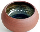 Red Stoneware Bowl with Watery Blue Lining