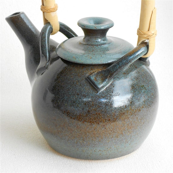 Dark Blue Teapot with Cane Handle