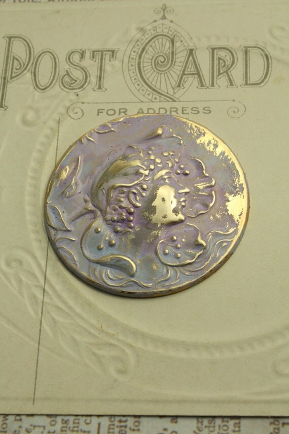 Nouveau Fleur Woman - Victorian Patina - Solid Brass Pendant Piece