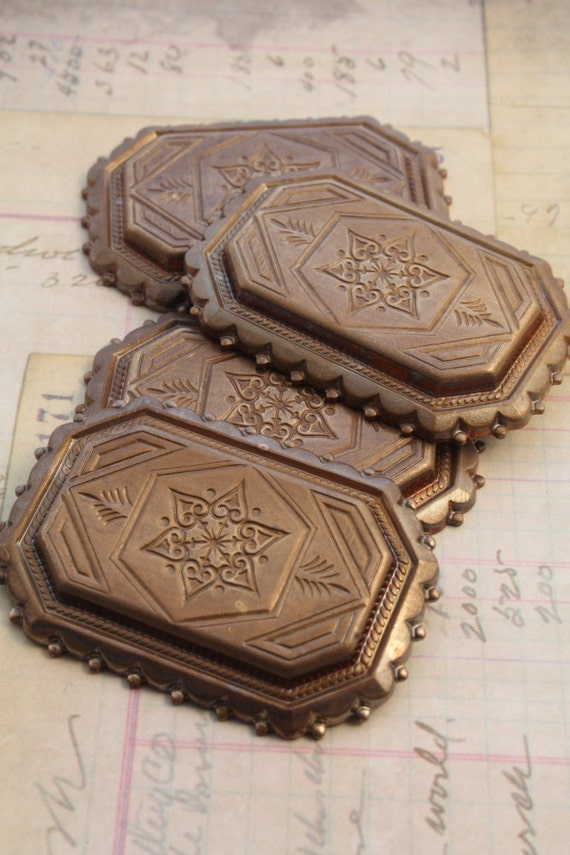 4 RETRO Aged Solid Brass Deco BOLD Etched Pieces