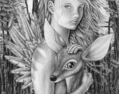 The Forrest Angel. 8X10 Print. An original graphite drawing presented in a high quality print.