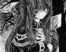 Little Gothic Vampire Girl - An original graphite drawing presented in a high quality 8 X 10 print.