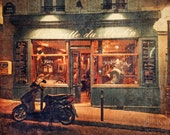 Vespa and Cafe at Night - Paris Photography, fine art print, vintage style, French wall art, home decor, 8x12 photo