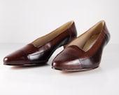 Women's Vintage Brown Leather Heel Shoe size 8 1/2