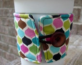 SALE Reusable Coffee Cup Sleeve/ Coffee Cozy in multi-colored pattern - Ready to ship