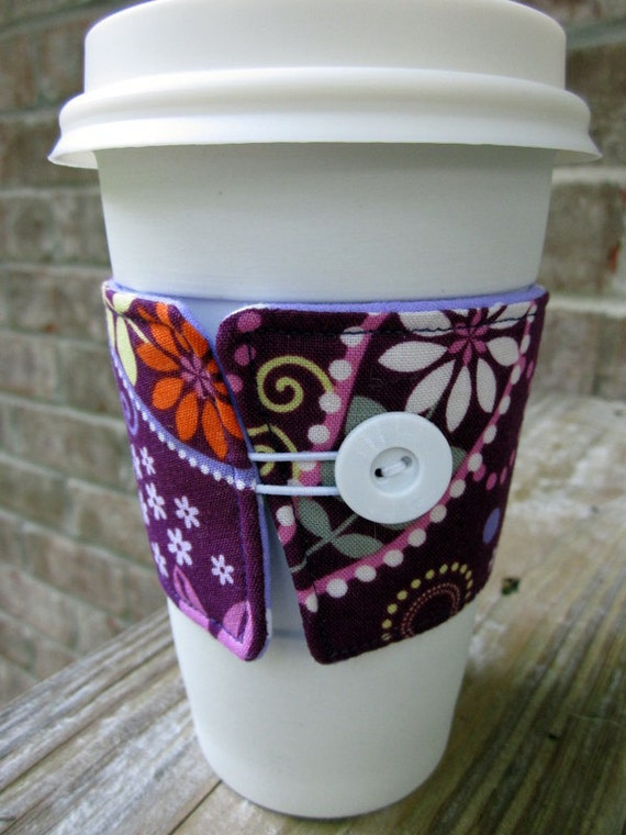 Reusable Coffee Cup Sleeve/Coffee Cozy- Purple Paisley and Purple Polka Dot Print- Ready to Ship