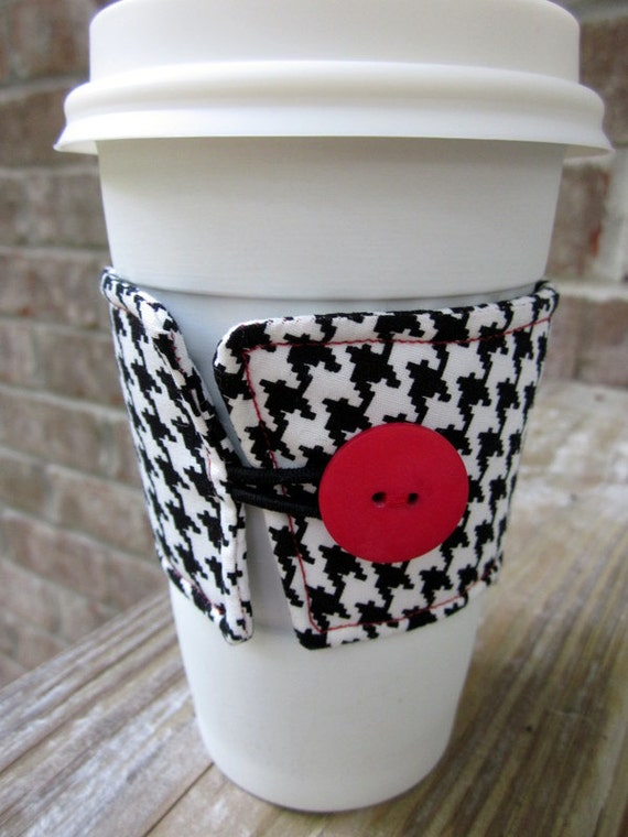 Reusable Coffee Cup Sleeve/ Coffee Cozy in Houndstooth- Ready to ship