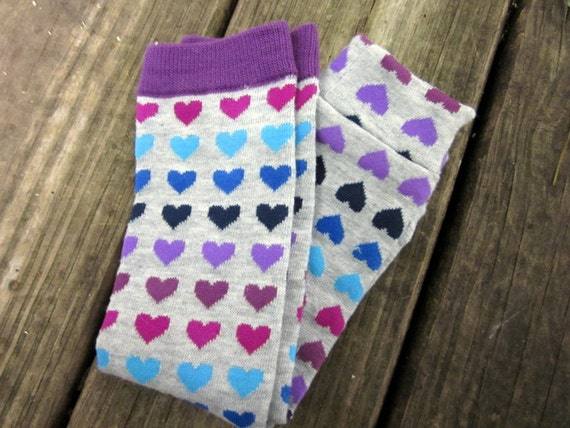 Baby Leggings, Toddler Legwarmers, Arm Warmers- Purple Hearts Print- Ready to ship