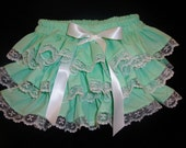Sassy Ruffles Mint Green with Raschel White Lace Bloomers Diaper Cover