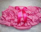 Sassy, Fluffy Hot Pink Gingham Ruffle Diaper Cover Bloomers Trimmed in Hot Pink Edging
