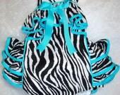 Super Sassy Infant, Toddler, Baby Girl's Zebra Ruffled Sunsuit Trimmed in Turquoise