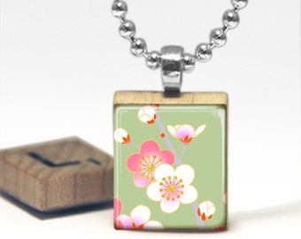 Pink and White Flowers on Green Scrabble Tile Pendant Necklace by Cheeky Monkey Pendants