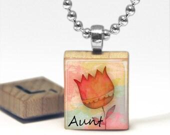 Aunt  Scrabble Tile Pendant Necklace by Cheeky Monkey Pendants