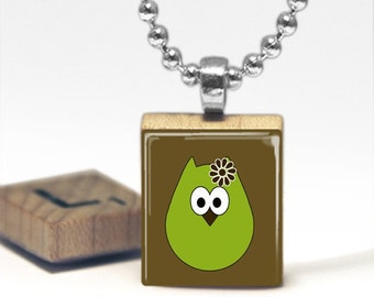Green Owl Scrabble Tile Pendant Necklace by Cheeky Monkey Pendants Gift-Present