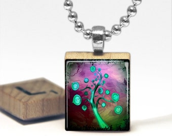 Beautiful Abstract Teal Blue Tree Scrabble Tile Pendant Necklace by Cheeky Monkey Pendants Gift-Present