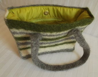 Felted bag GREEN GREY STRIPES