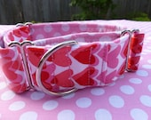 1 1/2 inch red and pink hearts martingale collar
