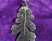 Silver Lacey Oak Leaf Necklace with Silver Chain - Leaf Necklace - Silver Dipped Leaf - Silver Leaf