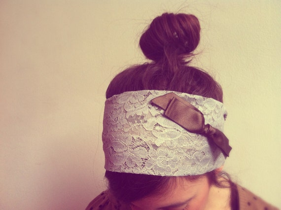 Lace Headband in Gray with Brown Bow - Womens Headbands Head Wraps, Turban Headband Turban Head Wrap, Head Bands Fabric Headband