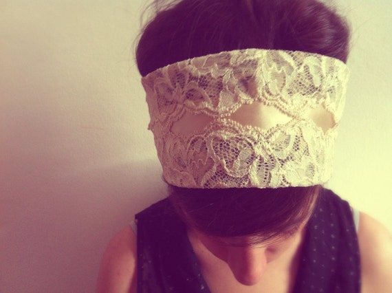 Lace Headband Ivory/Cream - Womens Bridal Headbands Head Wraps, Head Bands Fabric Headband, Hair Turban Head Scarf Hair Wrap
