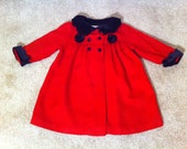 ON SALE --Adorable Vintage Little Girl Dress & Coat Set // 18 Month Red Dress Coat