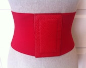 Extra Wide Red Stretchy Belt // Vintage Snap Front Elastic Belt