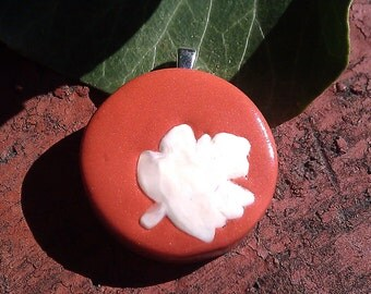 Fall leaves maple red - polymer clay pendant with ivory coloured deciduous leaf detail inlay on maple red with silver bail