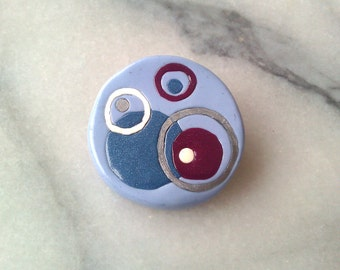 Mod Circles Winter brooch - polymer clay with silver pinback 2