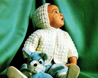 Vintage Knitting Pattern Baby Sweater Hoodie 7664