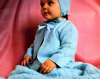 Vintage Knitting Pattern  Baby Blanket, Sweater and Ha tInstant Digital Download