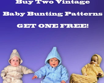 Buy Two Vintage Knitting Baby Bunting Patterns Get 1 Free Instant Download