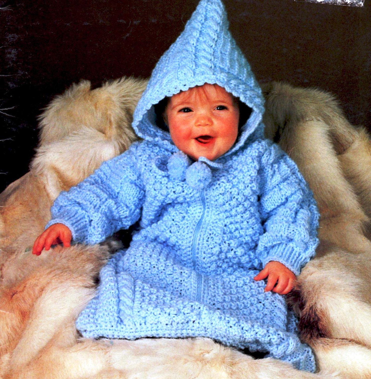 Knitting Pattern Baby Bunting : Vintage Knitting Baby Bunting Pattern Instant Download