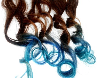 Blue Ombre Colored Hair Extensions / Blue to Turquoise / Real REMY Hair / Quality Clip Ins / Choose Colors / Baby Blue / Pastel Blue