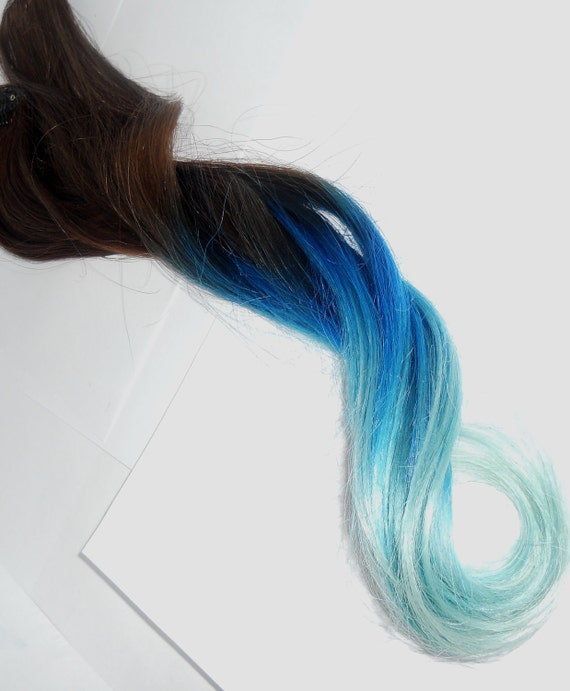 B L U E B E R R Y HAZE/////6 clip in -Pastel Blue Ombre Hair Extension - Weft Clip Extensions - Ombre - Free People -18inch Brown