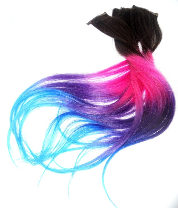 Ready to Ship/Four Clip Ins -Pink/Blue/Purple/Turquoise Extension /Tips Dip Dyed/Weft Clip Extensions - Ombre -18inch Brown/Blonde/ or blac